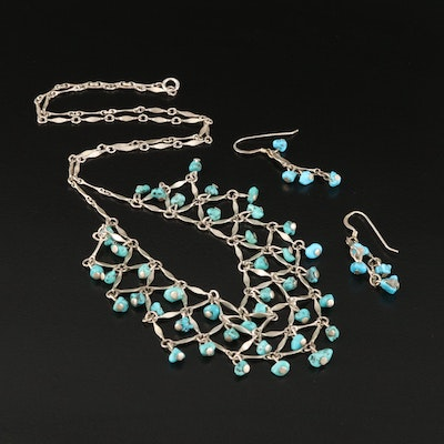 Sterling Silver and Turquoise Bib Necklace with Matching Drop Earrings