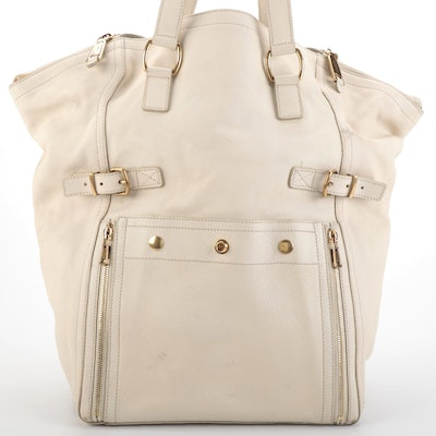 Yves Saint Laurent Large Downtown Tote Bag in Off-White Leather
