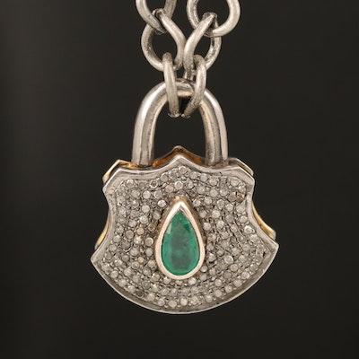 800 Silver Emerald and Diamond Lock Pendant Necklace