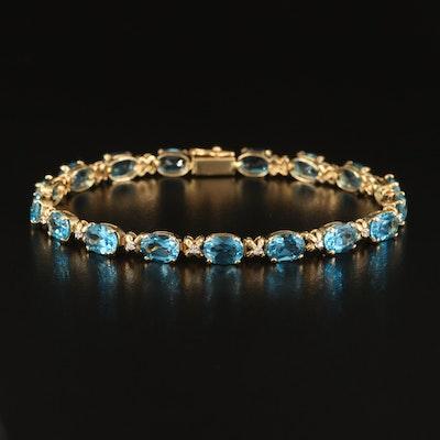 14K London Blue Topaz and Diamond Line Bracelet