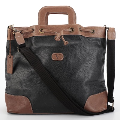 Valentino Hard Handle Two-Way Tote in Black with Brown Leather Trim
