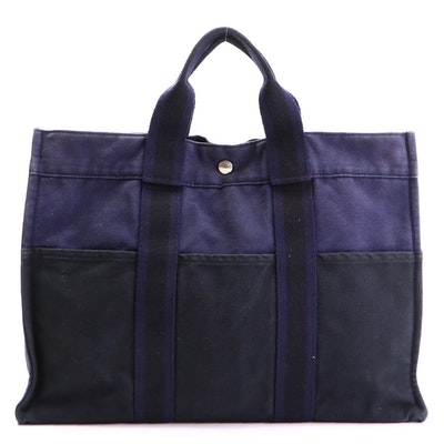 Hermès Fourre Tout MM Tote Bag in Black and Navy Cotton Canvas
