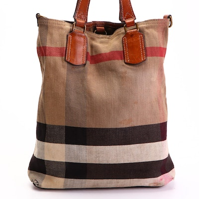 """Burberry Tote Bag in """"Mega Check"""" Canvas with Leather Trim"""