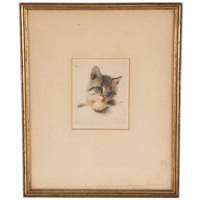 Miniature Kitten Portrait Etching à la Poupée