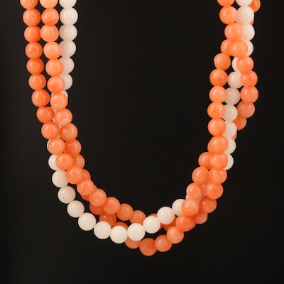Coral Torsade Necklace with Pouch