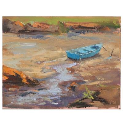 Riverbank Landscape Oil Painting