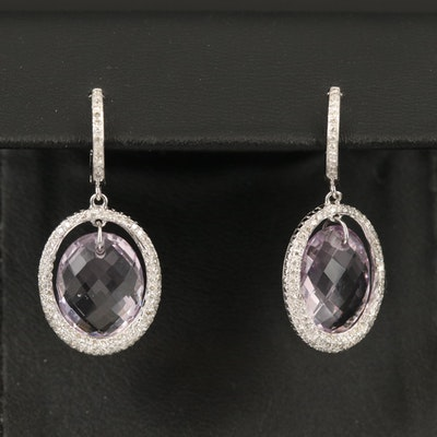 14K Amethyst and Pavé Diamond Earrings