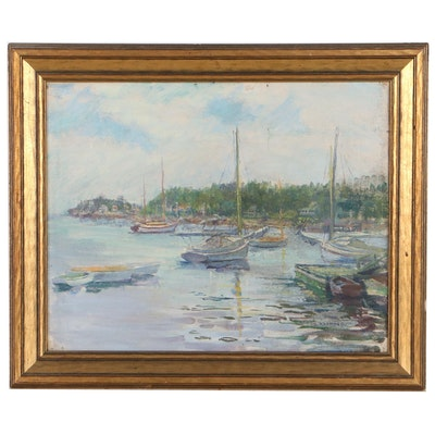 O. Raymond Harbor Scene Oil Painting