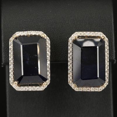 14K 62.10 CTW Sapphire and Diamond Halo Earrings