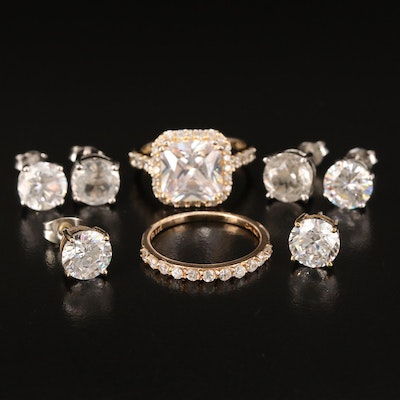 Sterling Grouping Including Rings and Stud Earrings
