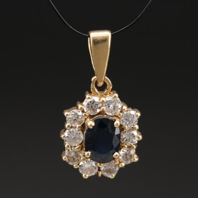 14K Sapphire and Diamond Halo Pendant