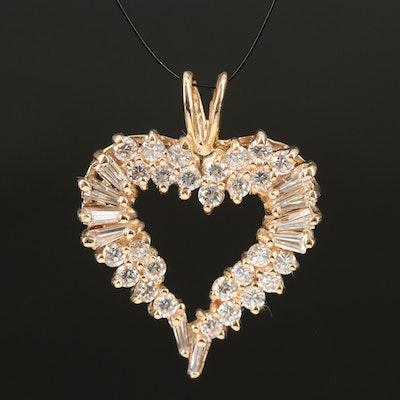 14K 2.00 CTW Diamond Heart Pendant