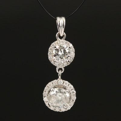 14K 1.38 CTW Diamond Double Drop Pendant