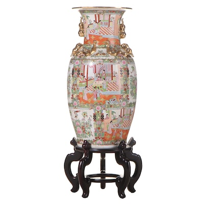 Chinese Famille Rose Porcelain Palace Vase on Stand, Late 20th Century