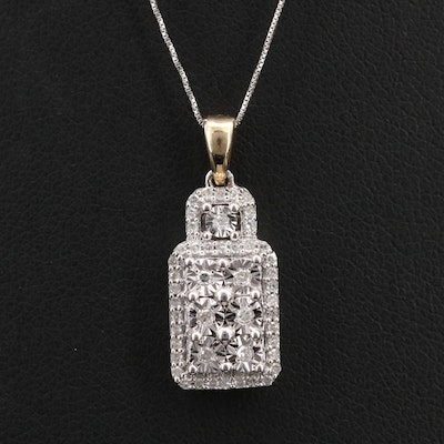 Sterling Diamond Square Pendant on 14K Box Chain Necklace with 14K Accent