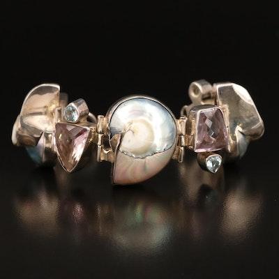 Sterling Amethyst, Topaz and Shell Stylized Bracelet