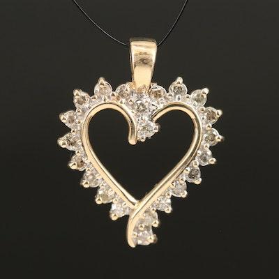 10K 0.50 CTW Diamond Heart Pendant