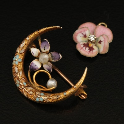 Early Victorian 10K Crescent Moon with Flower Brooch and 14K Pansy Pendant