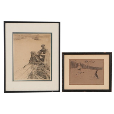 Figurative Etchings Including Nautical Scene of Men in Boat