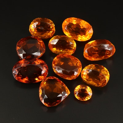 Loose Lab Grown Oval and Pear Faceted Citrines
