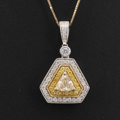 14K 1.00 CTW Diamond Triangular Pendant Necklace