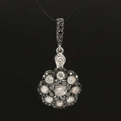 18K Diamond Flower Drop Pendant