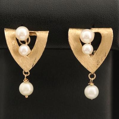 Vintage 14K Pearl Clip Earrings
