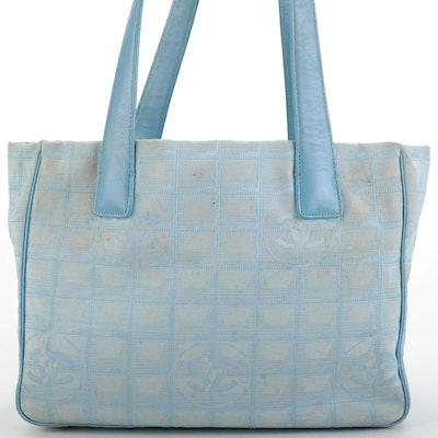 Chanel Travel Line Blue Jacquard Tote Bag with Leather Handles