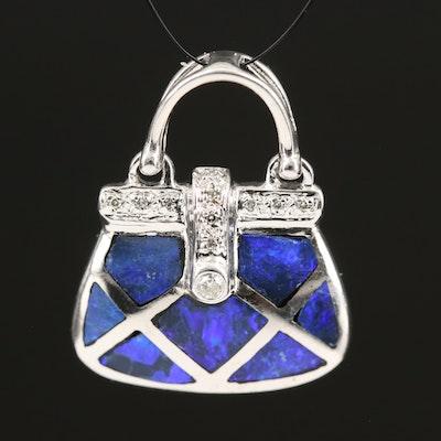 14K Diamond and Enamel Purse Pendant