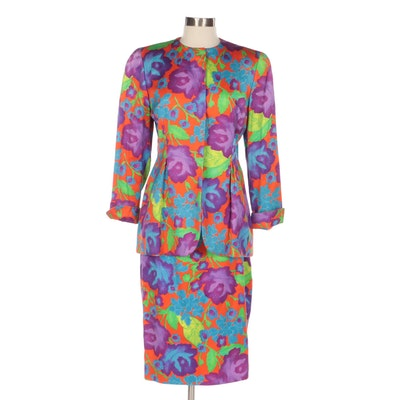 Bill Blass for Saks Fifth Avenue Floral Print Skirt Suit