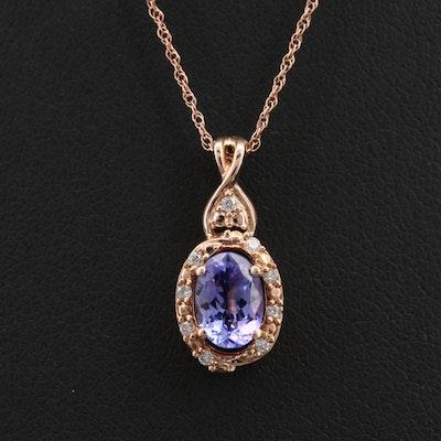 10K Rose Gold Tanzanite and Diamond Pendant Necklace