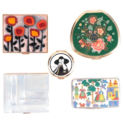 German Enameled Sterling Silver Compact with Other Compacts, Late 20th Century