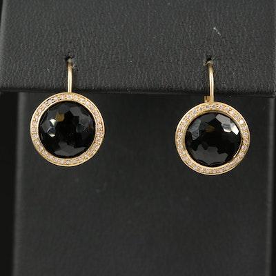 Ippolita 18K Black Onyx Earrings with Diamond Halos