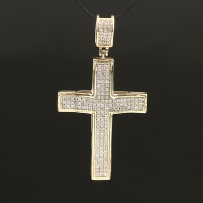 10K 0.86 CTW Diamond Cross Pendant