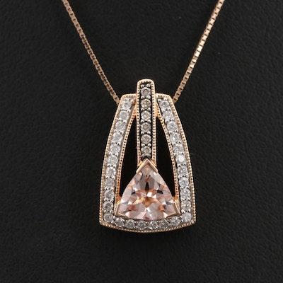 14K Rose Gold Morganite and Diamond Pendant Necklace