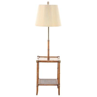 Bamboo Style Turned Elm Burl Table Floor Lamp