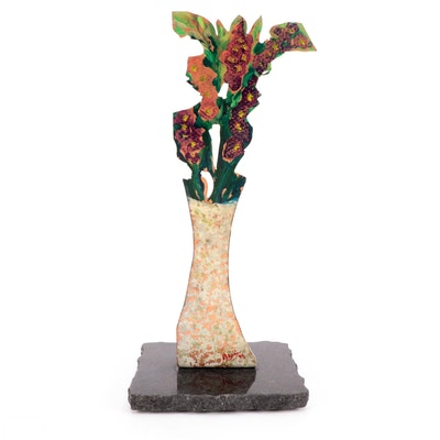 Abstract Copper Sculpture of Floral Still Life, 1995