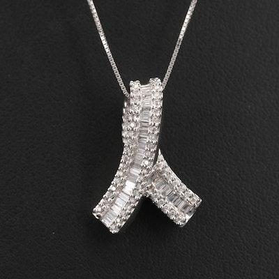 14K 0.50 CTW Diamond Ribbon Pendant Necklace