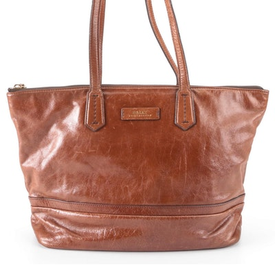 Bally of Switzerland Brown Leather Zippered Tote Bag