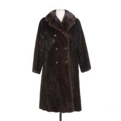 Danish Mahogany Mink Fur Open-Front Coat, Mid 20th Century