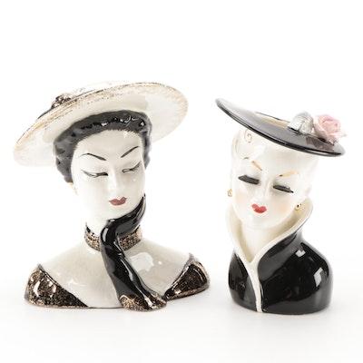 """Lefton """"Mata Hari"""" and Relpo Ceramic Lady Head Vases, Mid-20th Century"""