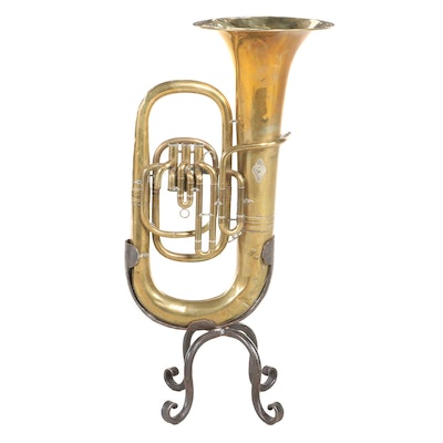 Brass Tuba Plant Stand Mounted on Wrought Iron Base