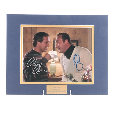"""Chevy Chase & Randy Quad Signed """"National Lampoon XMAS Vacation"""" Photo Print"""