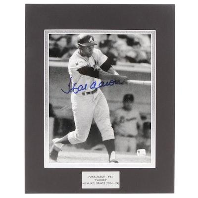 "Hank Aaron ""#44 Hammer"" Signed Milwaukee/Atlanta Braves (1954-1974) Print, COA"