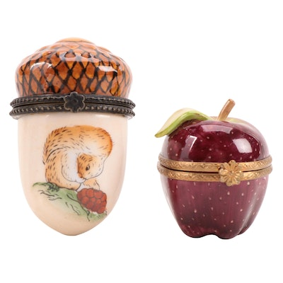 Rochard Hand-Painted Porcelain Apple Limoges Box with Other Limoges Style Box