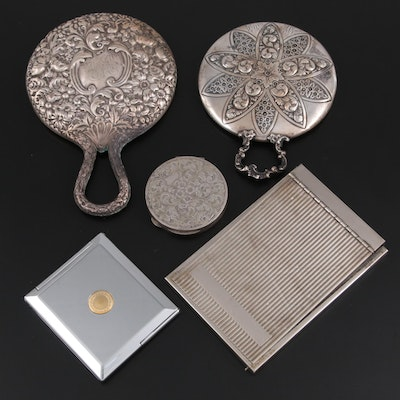 Sterling Silver and Other Silver Hand Mirrors, Compacts and Vanity Mirror