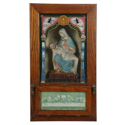 Reverse Painted Stations of the Cross Shadowbox Wall Alter, Early 20th C.