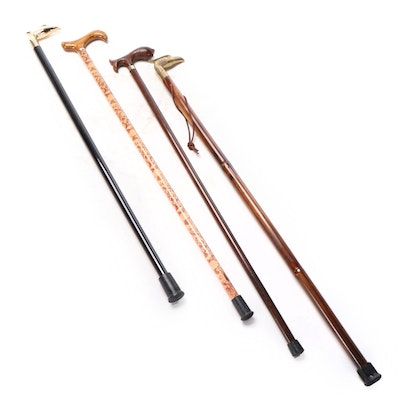 Brass Eagle Head Handled Bamboo Cane with Other Wood and Plastic Canes