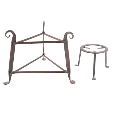 Hand-Forged Iron Hearth Kettle Stands