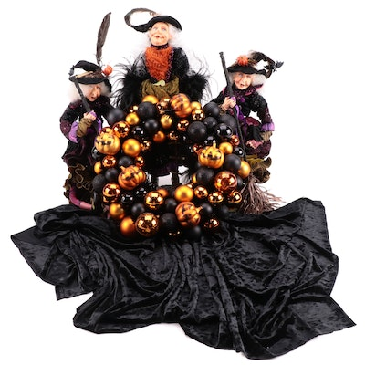 Halloween Pumpkin Wreath and Witch Table Décor
